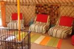 Seating inside the yurt